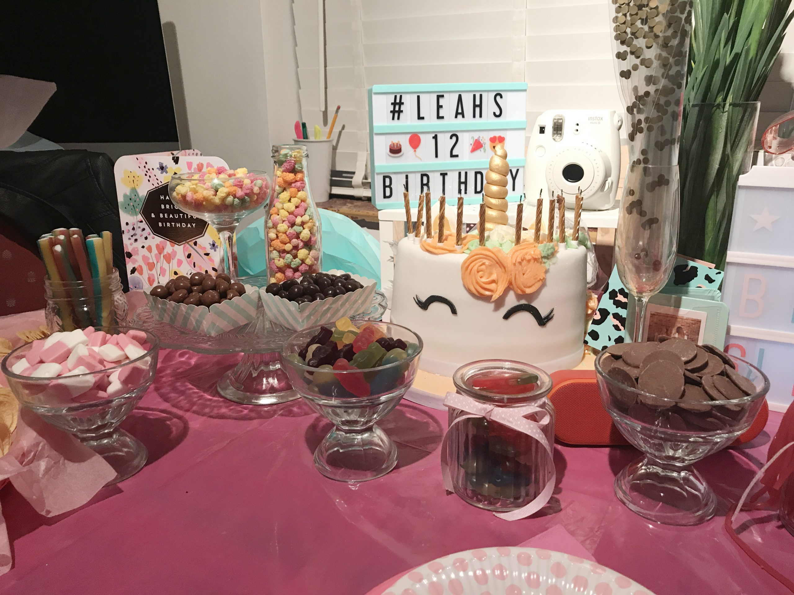 Unicorn Cake, Giant Strawberries, Light Box, Chocolate buttons, Sweet Table