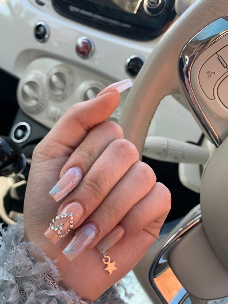 Spring Nude Diamonte Nails, Pinkie Charm, Acrylic Nails, Photo Party London, Bromley, Iridescent, Coffin Tip Nails,