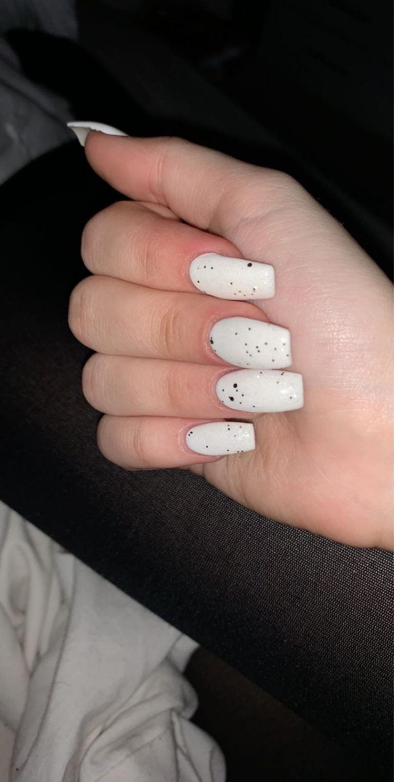 Spring White Speckled Acrylic Nails, White Nails, Black Speckles, Photo Party London, Bromley, Coffin Tip Nails