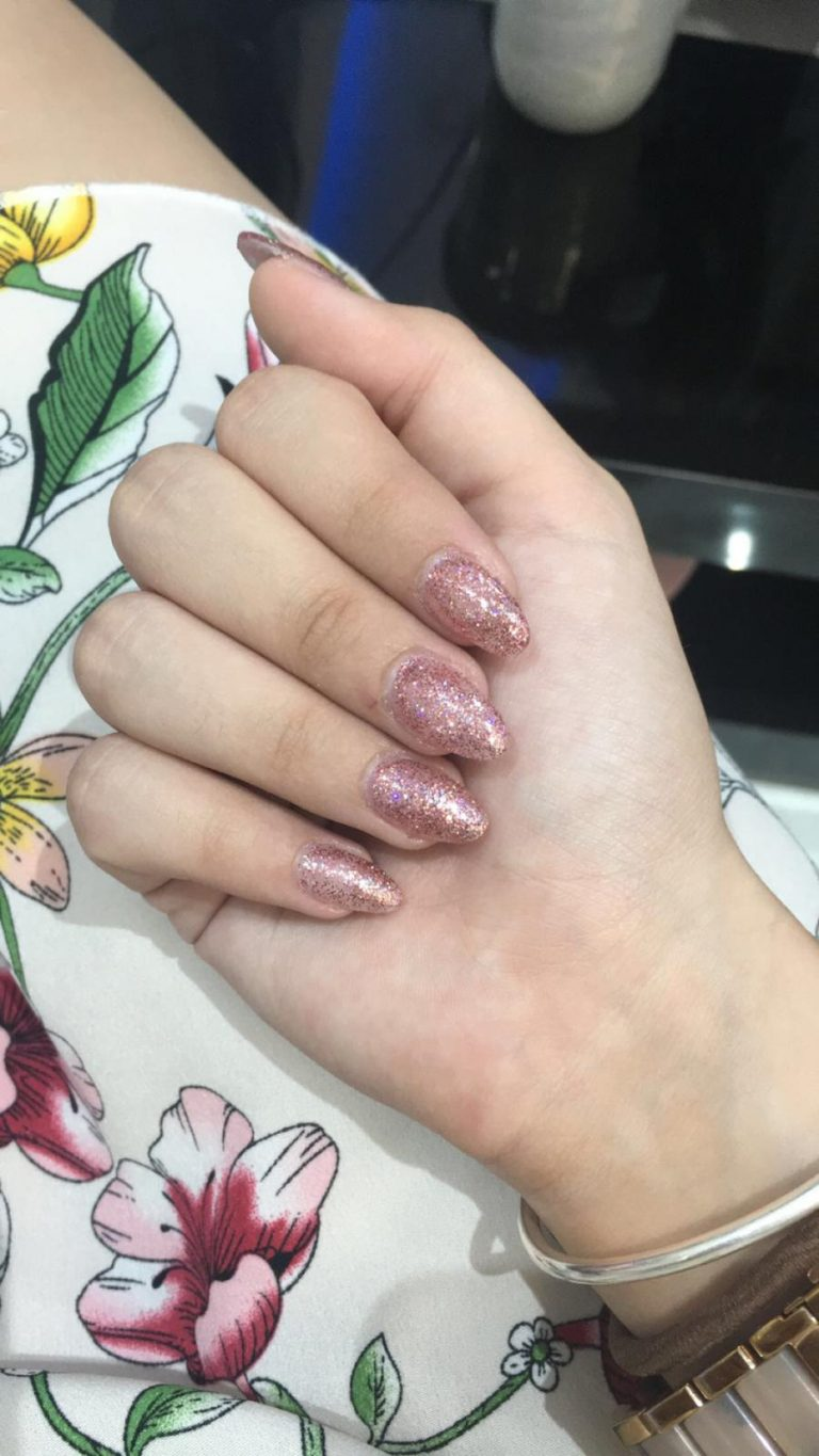 Rose Gold Glitter Stiletto Tip Acrylic Nails, Rose Gold Glitter, Stiletto Tips, Photo Party London, Bromley, Summer Acrylic Nails