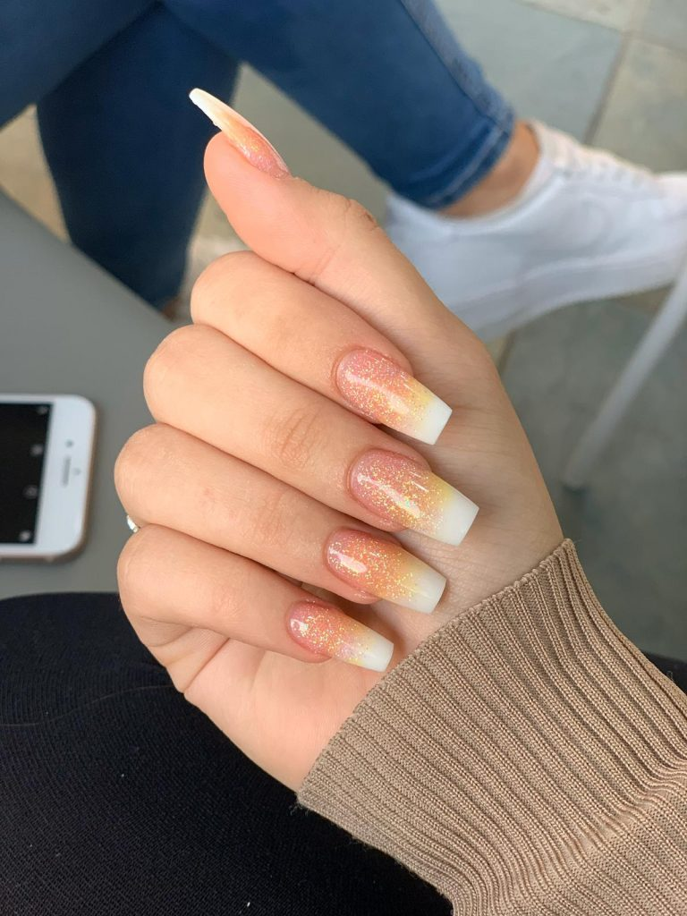 Autumn Sunset Ombre Nails, Sunset, Orange, Yellow, White, Sunset Ombre, Acrylic Nails Autumn Nails, Photo Party London, Bromley