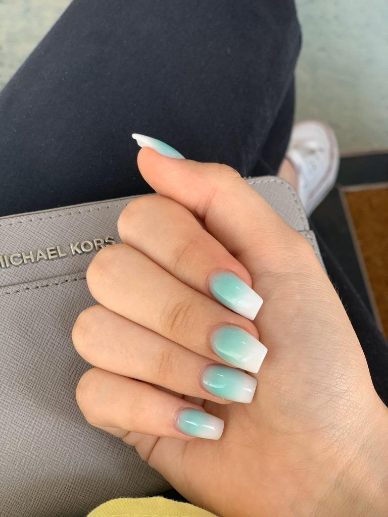 Spring Mint Ombre Nails, Acrylic Ombre Nails, Mint Nails, Summer Acrylic Nails, Bromley, Photo Party London
