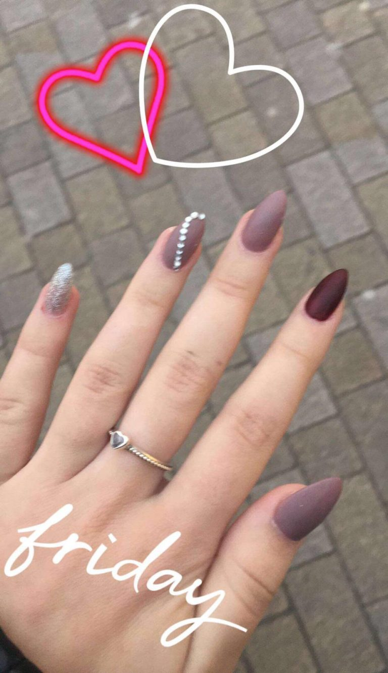 Grey, Maroon and Silver Stiletto Acrylics, Autumn Nails, Photo Party London, Bromley, Silver Pinkie, Autumn Nails
