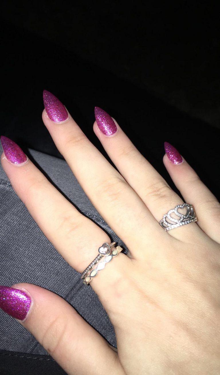 Autumn Purple Glitter Acrylic Nails, Stiletto Tip Nails, Purple Glitter, Autumn Nails, Photo Party London, Bromley