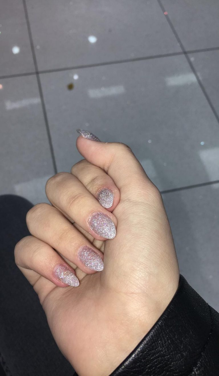 Winter Silver Acrylic Nails, Silver Glitter Nails, Stiletto Acrylics, Bromley, Photo Party London
