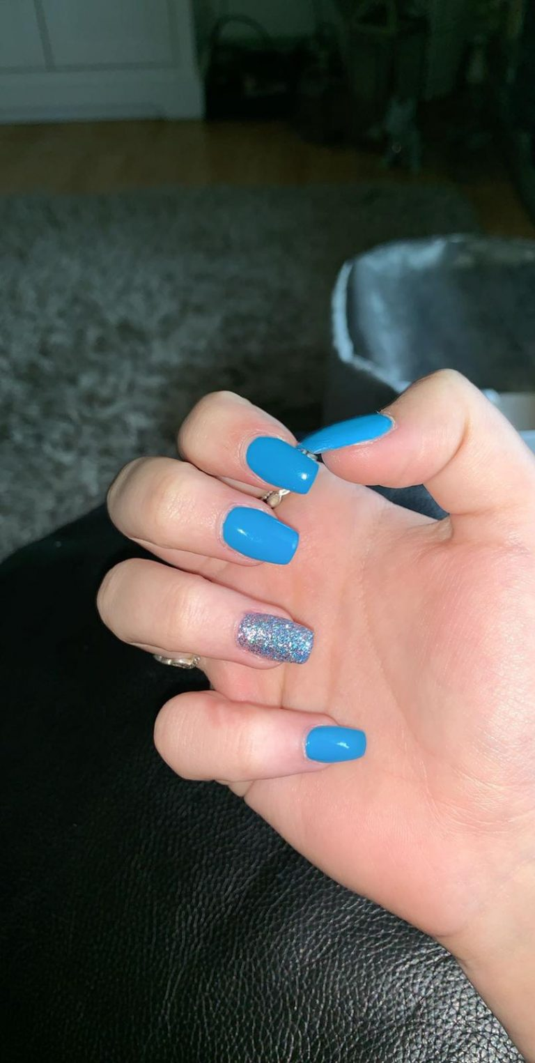 Blue Acrylic Nails, Silver Glitter Ring Finger, Winter Nails, Acrylic Nails, Bromley, Photo Party London