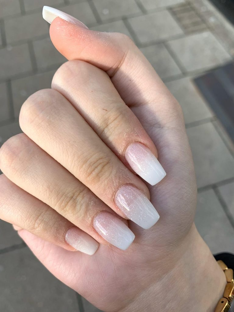 Ice White Sparkle Winter Acrylic Nails, Acrylics, Winter Nails, Sparkle, Coffin Nails, Bromley, Photo Party London