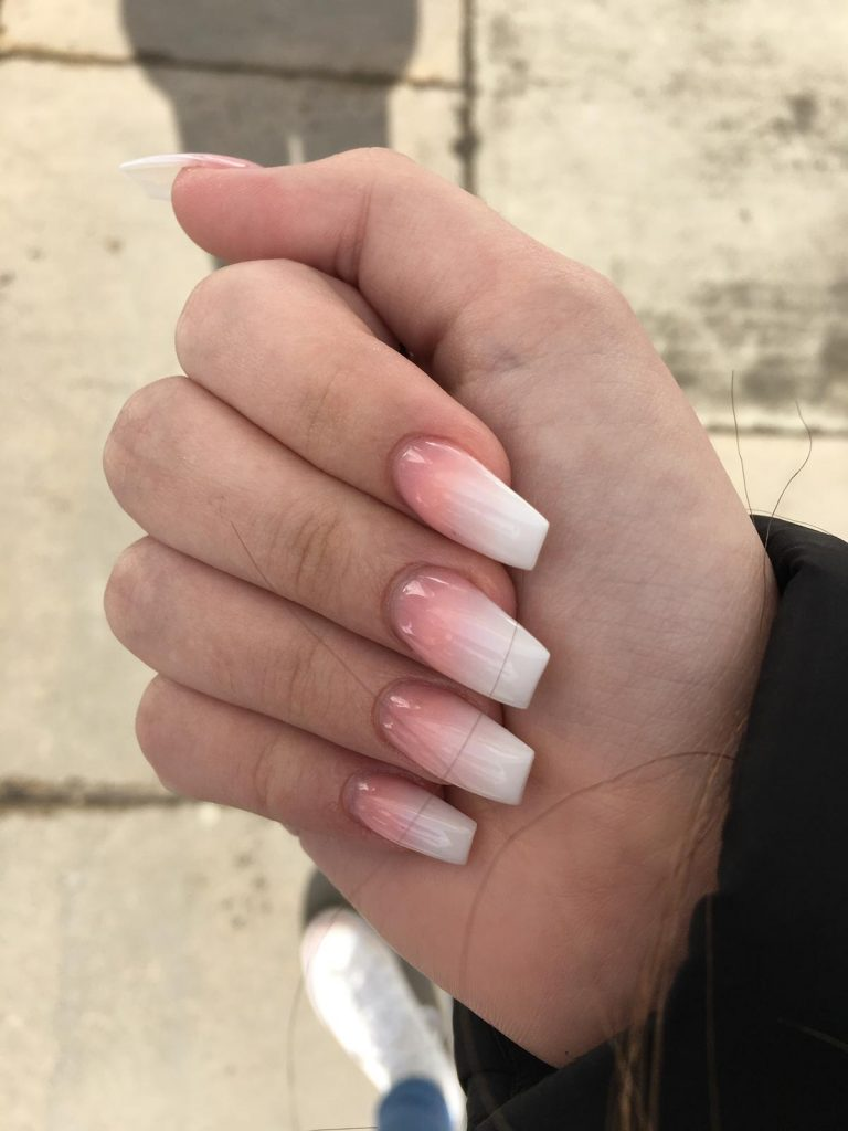 Coffin Acrylic Nails, Spring Nails, Photo Party London, Bromley, Peach Ombre, Peach and White, Acrylic Nail Ideas, Ombre Nails,