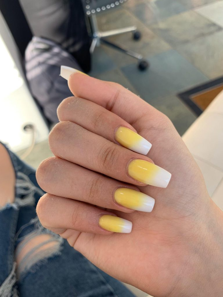 Spring Pastel Yellow and White Ombre Nails, Pastel Ombre, Yellow Ombre Nails, Acrylic Nails, Spring Acrylics, Bromley, Photo Party London, Coffin Shape Nails