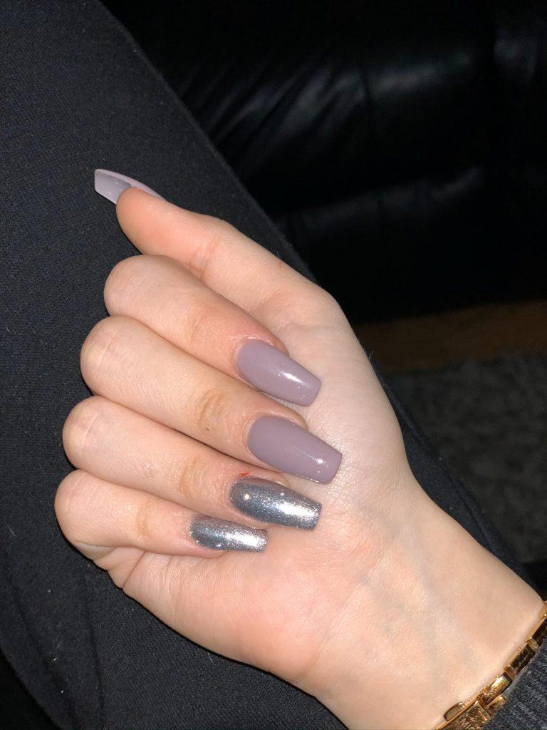 Autumn Grey and Silver Acrylic Nails, Silver Nails, Grey Acrylics, Bromley, Photo Party London, Autumn Nails
