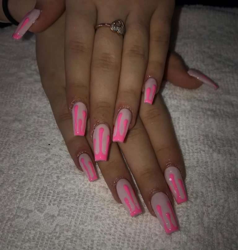 Summer Neon Pink Drip Acrylic Nails, Neon Acrylics, Pink Drip, Baby Pink Acrylics, Coffin Shape Nails, Bromley, Photo Party London