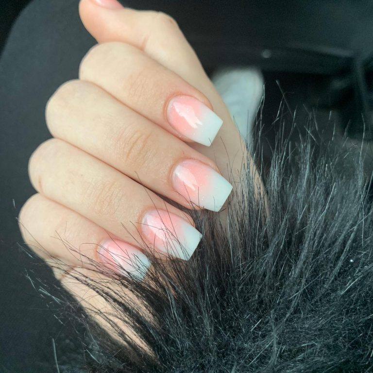 Spring Pink and White Ombre Acrylic Nails, Coffin Tip Nails, Ombre Nails, Spring Acrylic Nails, Photo Party London, Bromley