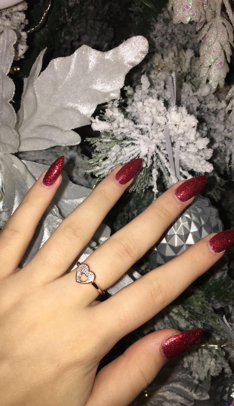 Christmas Nails, Ruby Red, Red Glitter Nails, Stiletto Shape Nails, Red Christmas Acrylics, Photo Party London, Bromley