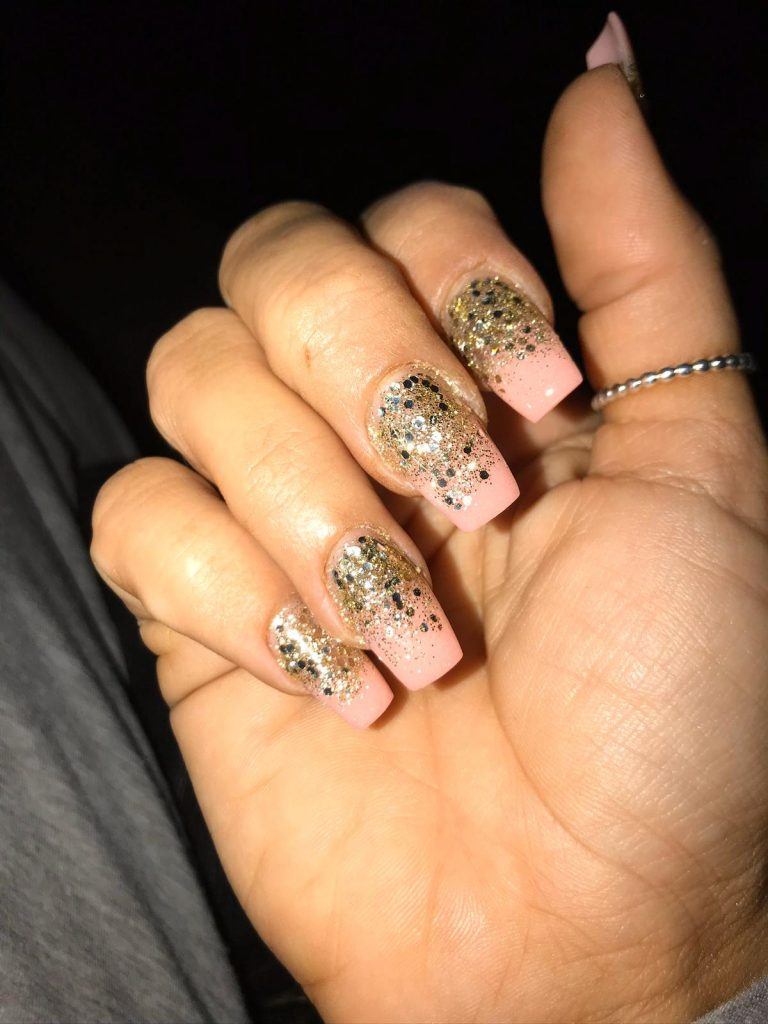 Summer Gold Glitter Ombre Nails, Gold Ombre, Pink and Gold Glitter Acrylic Nails, Photo Party London, Bromley, Square Tip Nails