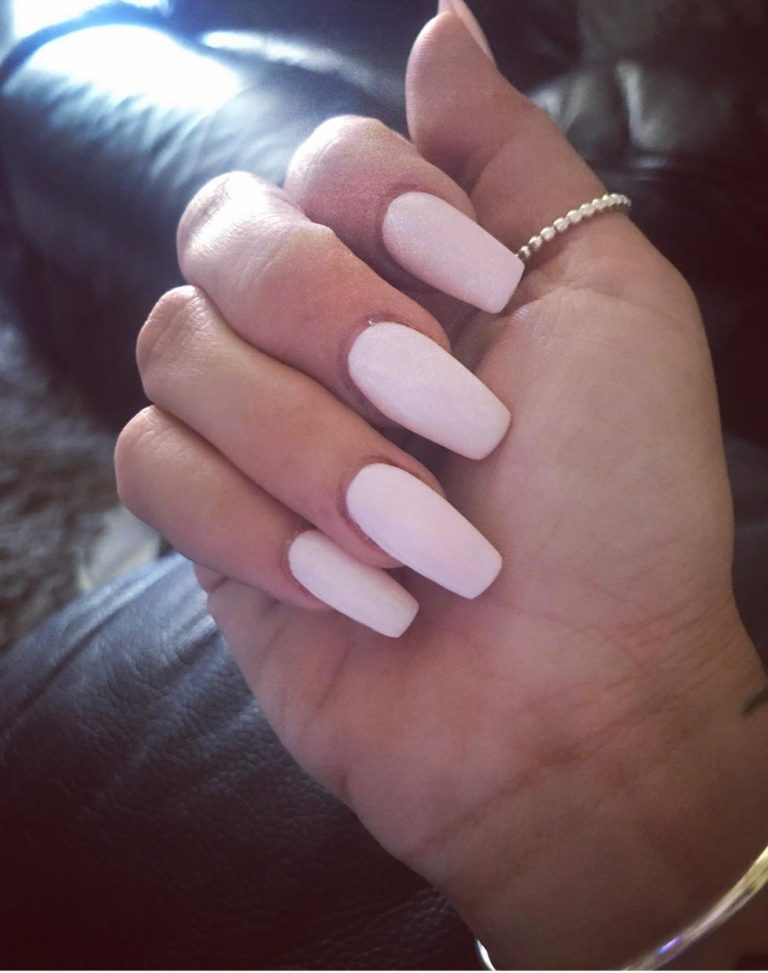 Spring Baby Pink Acrylic Nails, Coffin Tip Acrylics, Baby Pink, Photo Party London, Bromley