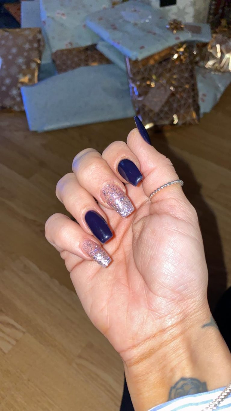 Winter Navy and Silver Acrylic Nails, Silver Glitter Acrylics, Winter Nails, Navy Blue Acrylics, Photo Party London, Bromley