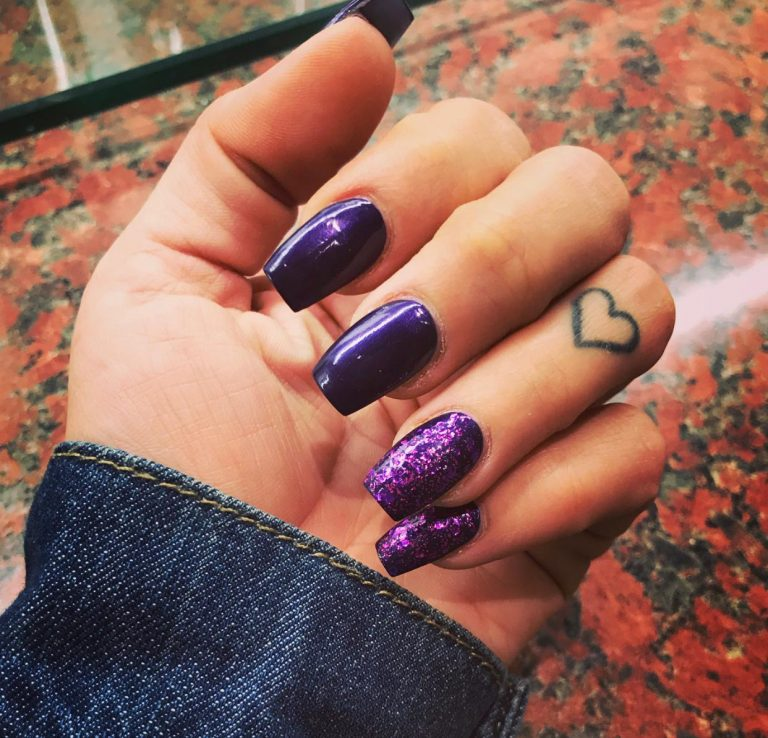 Purple Autumn Acrylic Nails, Purple Glitter Square Nails, Purple Acrylics, Photo Party London, Bromley, Square Acrylics