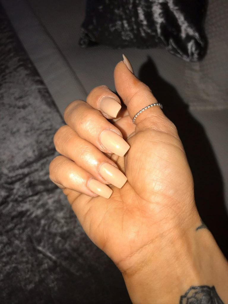 Nude Autumn Acrylic Nails, Nude Acrylics, Square Tip Acrylics, Nude Nails, Photo Party London, Bromley