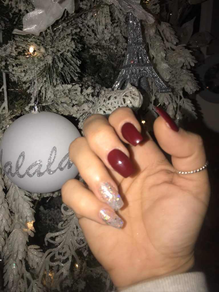Winter Red Christmas Acrylics, Winter Nails, Silver Glitter Nails, Photo Party London, Bromley, Square Tip Nails