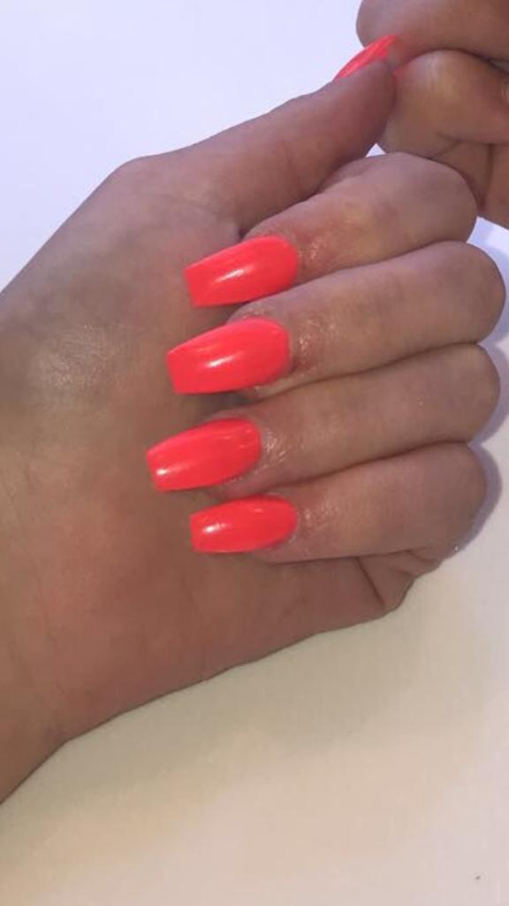 Summer Neon Orange Acrylic Nails, Coffin Acrylic Nails, Neon Orange, Summer Nails, Bromley, Photo Party London