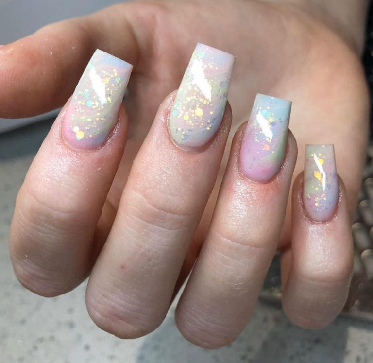 Spring Iridescent Marble Glitter Acrylic Nails, Square Acrylics, Pearl, Glitter, Photo Party London, Bromley