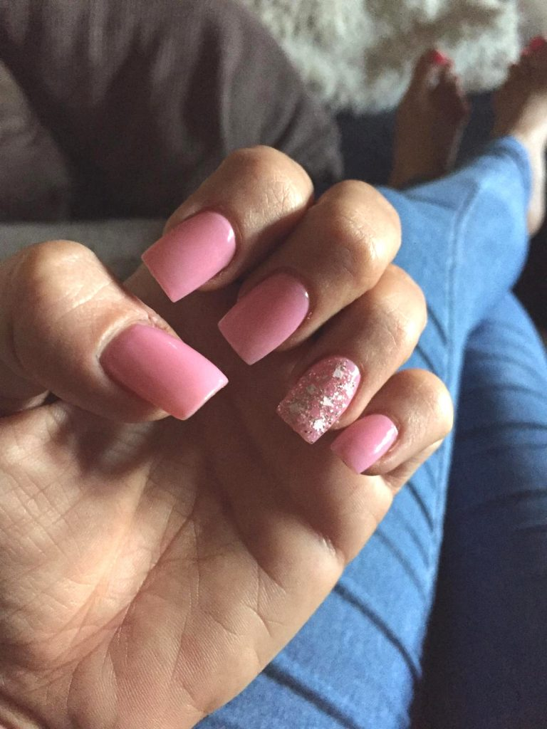 Spring Pink Square Tip Acrylic Nails, Baby Pink Nails, Pink Glitter Ring Finger, Photo Party London, Bromley, Square Acrylics